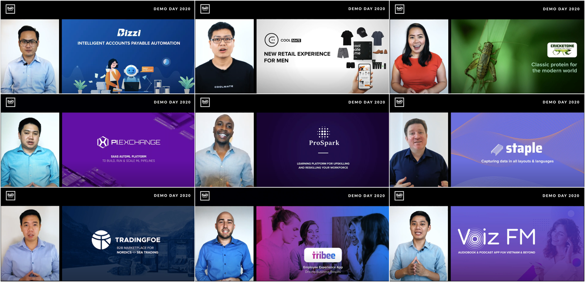 Photo: 9 presenting startups at 500 Startups Vietnam's Demo Day 2020